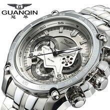 GUANQIN Hombres de LUJO de Negocios de Primeras Marcas de Plata Inoxidable de Cuarzo-Reloj Cronógrafo Fecha Reloj de Los Hombres de Moda Casual Reloj Luminoso