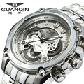 Moda guanqin hombres relojes de cuarzo reloj de pulsera de lujo marca de fábrica grande de los hombres cronógrafo reloj luminoso reloj de acero masculino del relogio