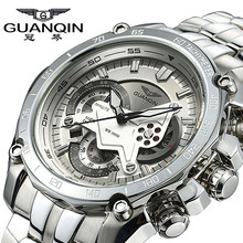 Original Big Dial Guanqin Men Watch Luminous Luxury Famous Brand Watches Waterproof Men Clock Stainless Steel Wristwatch for Men