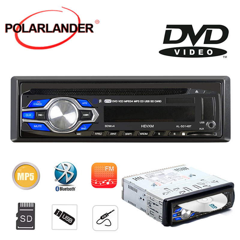 Car Radio DVD/CD ROM Head Unit MP4/MP3 Player 1 Din Stereo USB/AUX/SD Bluetooth