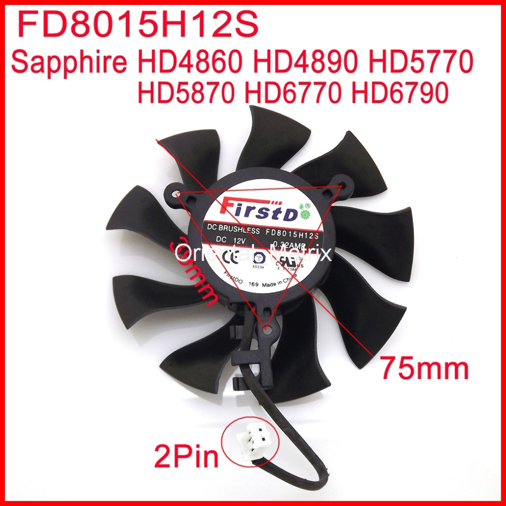 Free Shipping Firstdo FD8015H12S DC12V 0.32A 75mm For Sapphire HD4860 HD4890 HD5770 HD5870 HD6770 HD6790 Graphics Card Fan