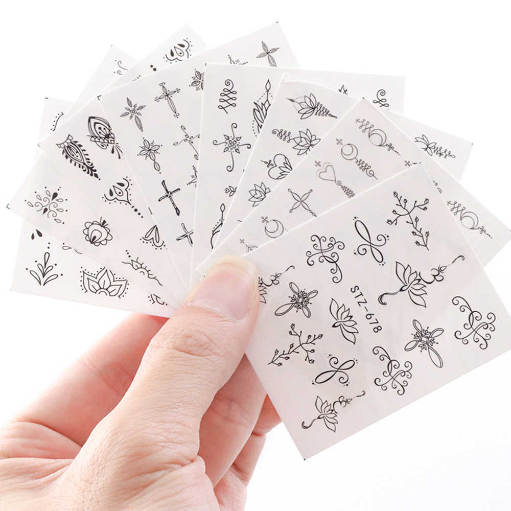 1 Pcs Water Decal Kuku Seni Transfer Stiker Hitam Bunga Geometri DIY Kuku Tato Perekat Manikur Dekorasi Tip JISTZ675-682