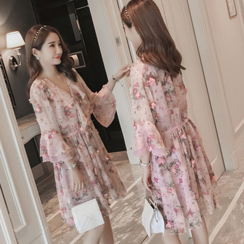 Summer Pregnant Women Loose Clothing Maternity V-Neck Chiffon Home Mother Fashion Mama flower big code pregnant womens dress