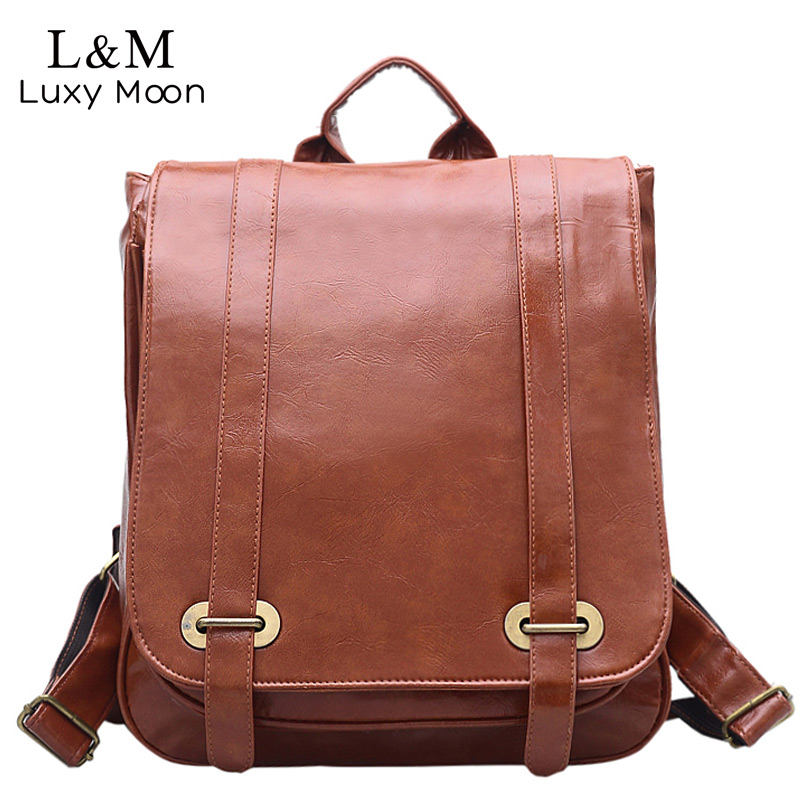 Luxy moon Vintage Women Backpack for Teenage Girls School Bags Fashion Large Backpacks High Quality PU Leather Travel Bag XA1067 2018 simple style backpack women pu leather backpacks for teenage girls school bags fashion vintage solid school shoulder bag