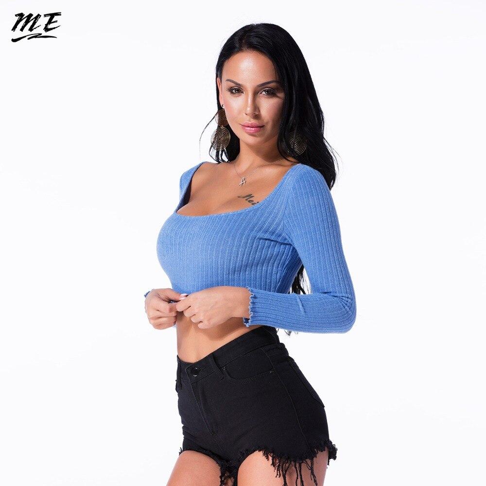Мне Для женщин Crop Top Sexy облегающее мини-платье с длинными рукавами и круглым вырезом футболки Летние Повседневное эластичные Вязание укороч...