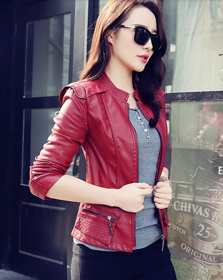 Women Pu   Leather   Short Slim Jacket Round Neck Zipper Coat Female Outerwear New Fashion Jacke M-2XL