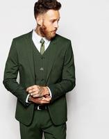 2019 High Quality Groomsmen Peak Lapel Groom Tuxedos Dark Green Men Suit Wedding Prom Best Man Blazer (Jacket+ Vest+ Pants+ Tie)