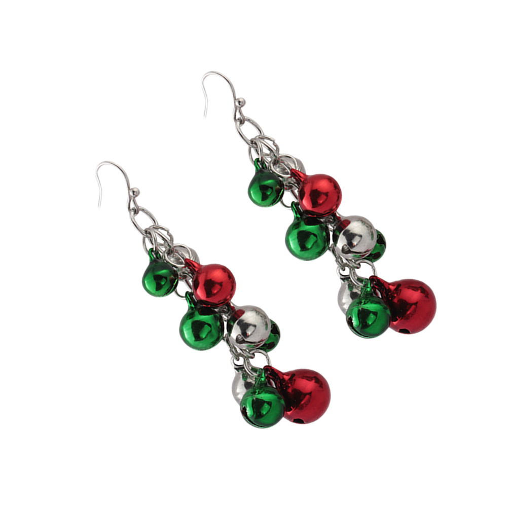 Christmas Jingle Bell Drop Earrings Multicolor Chandelier Drop Dangle Earrings