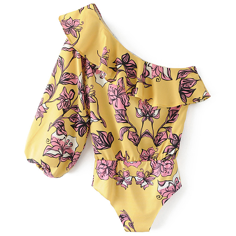 a8b874c1dcb5 HOT Summer Overalls Women Bodysuit Brand Sexy Ruffle Rompers Yellow Vintage  One shoulder Jumpsuit Yellow Flower Printing Femm-in Bodysuits from Women s  ...