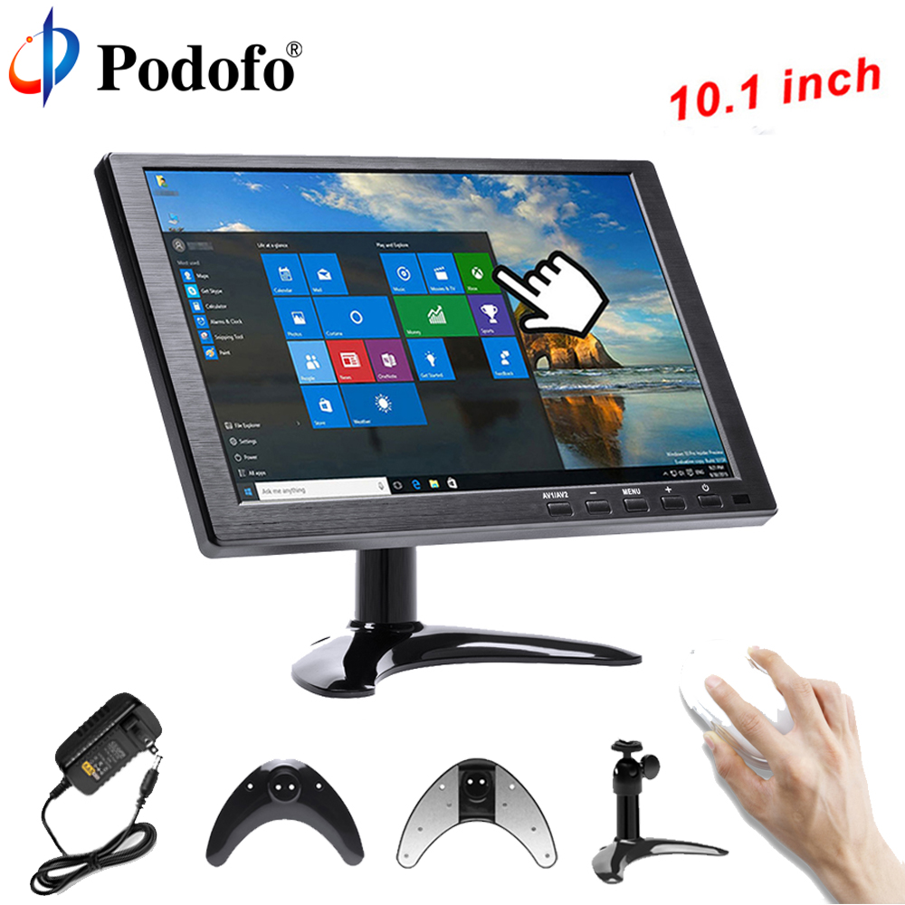Podofo 10.1 LCD HD Monitor Mini TV & Computer Display Color Screen 2 Channel Video Input Security Monitor With Speaker VGA HDMI aputure digital 7inch lcd field video monitor v screen vs 1 finehd field monitor accepts hdmi av for dslr