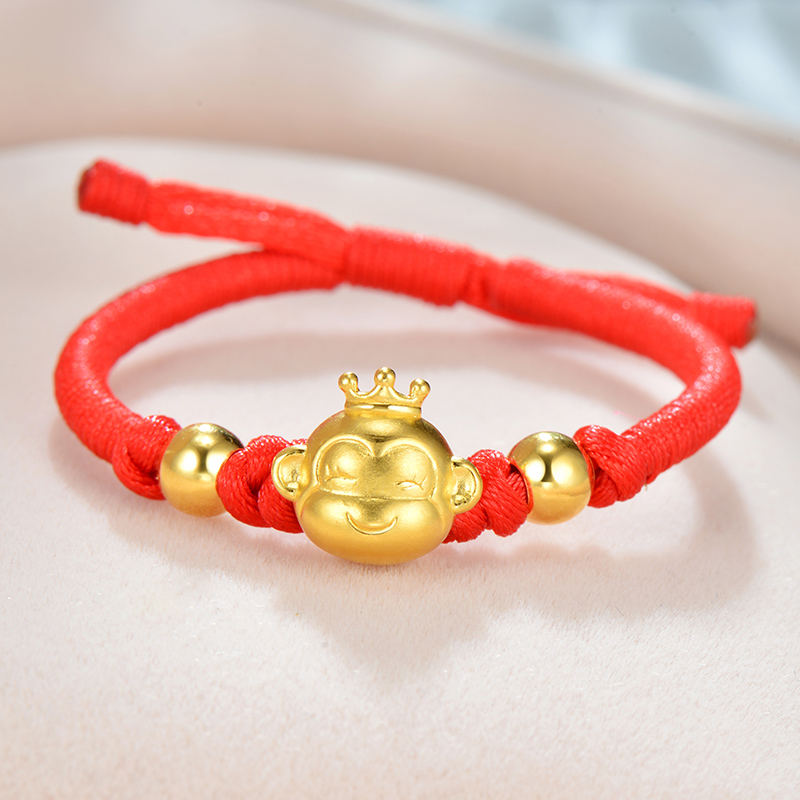 New Pure 999 24K Yellow Gold Bracelet 3D 12*13mm Smart Crowned Monkey &Lucky Beads Fine Knitted Chain