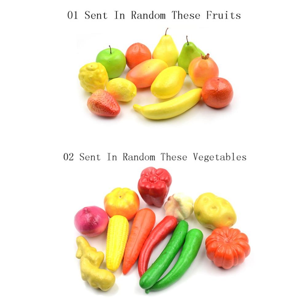 12pcs Kitchen Toys Lifelike Artificial Kitchen Plastic Fruit Vegetable Pretend Play Home Decor Children Kids Educational Toys