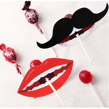 new 50pcs lollipop cover red kiss and mustache design children birthday wedding party candy decorate holiday Christmas use