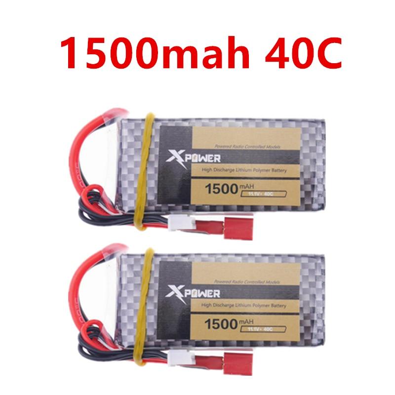 2kpl 11.1V 1500Mah 40C lipo 3s Akun virta MAX 60C T XT60 -liitin Liitin RC Car Lentokone -velho X220 v950