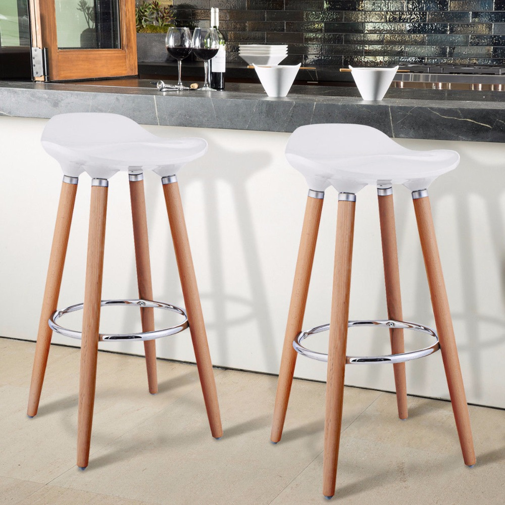 Giantex Set of 2 ABS Bar Stool Breakfast Barstool w/ Wooden Legs Kitchen Furniture White HW52622WH цена и фото