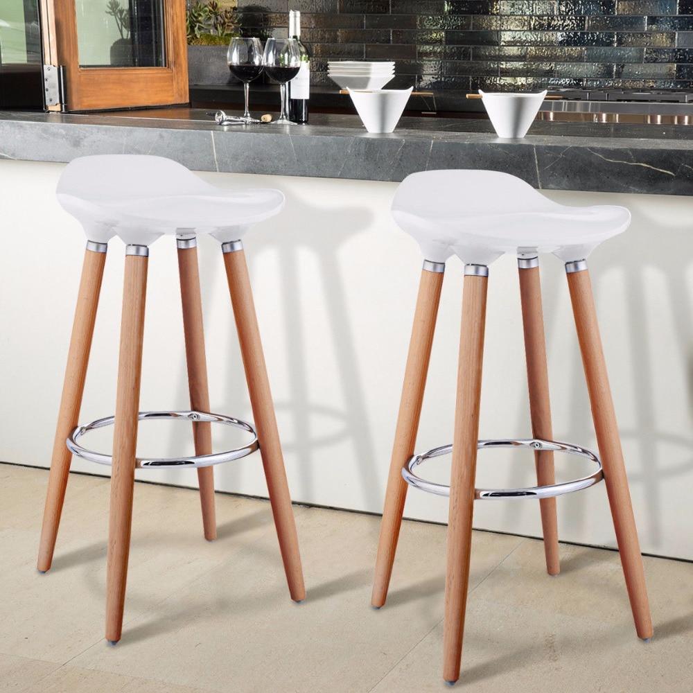 Giantex Set of 2 ABS Bar Stool Breakfast Barstool w/ Wooden Legs Kitchen Furniture White HW52622WH