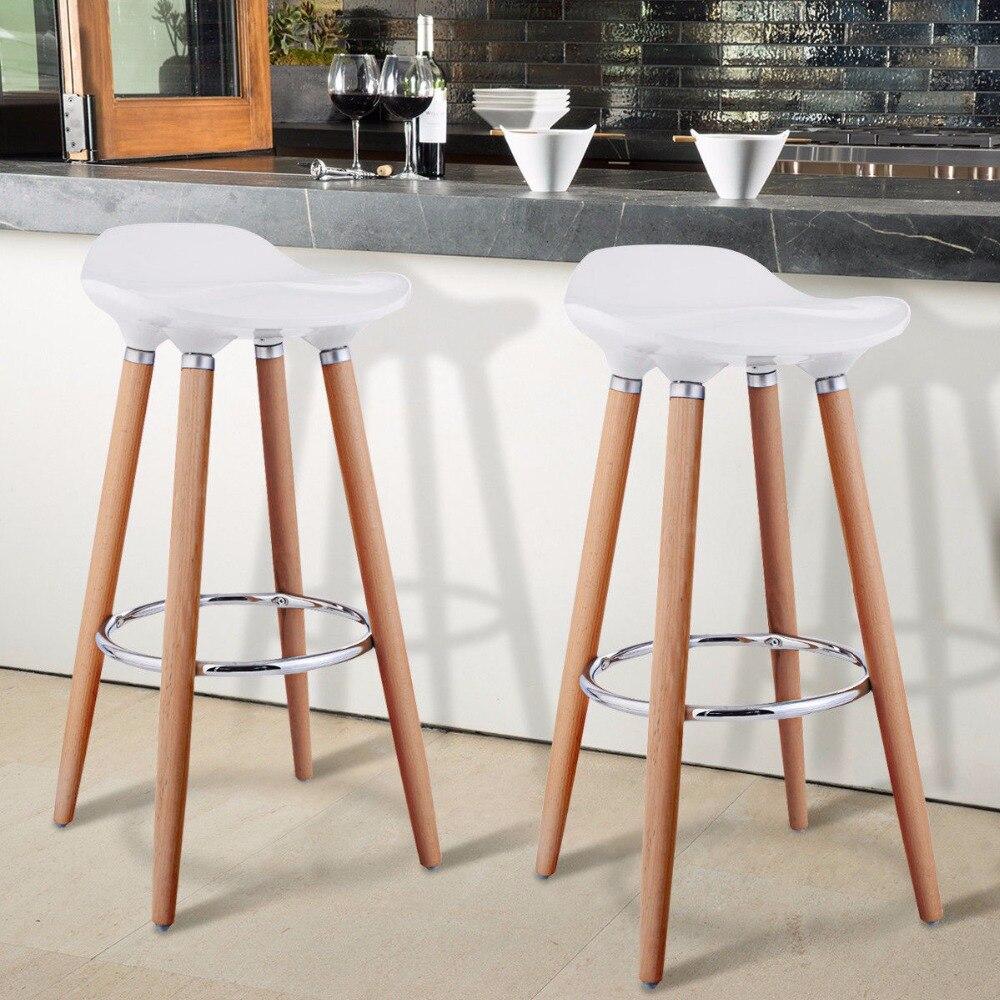 Giantex lot de 2 tabouret de Bar ABS tabouret de petit déjeuner avec pieds en bois meubles de cuisine blanc HW52622WH