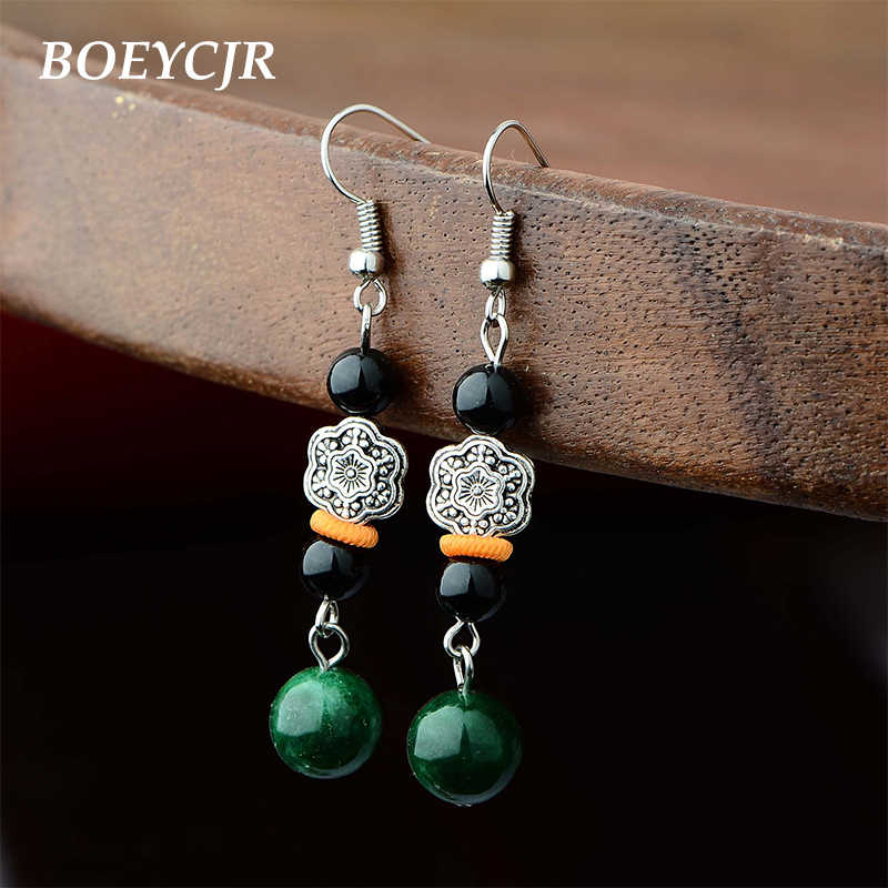BOEYCJR Ethnic Vintage Natural Green Stone Bead Flower Bead Dangle Earrings Fashion Jewelry Drop Earrings For Women Gift 2019