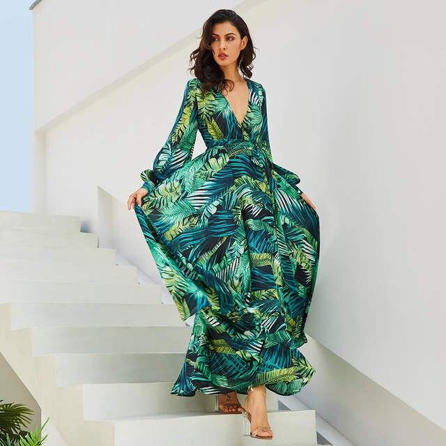 f71236873 Vintacy sukienka z długim rękawem zielona tropikalna plaża w stylu Vintage  sukienki Maxi Boho Casual V Neck pas koronki Up tunika Draped Plus rozmiar  ...