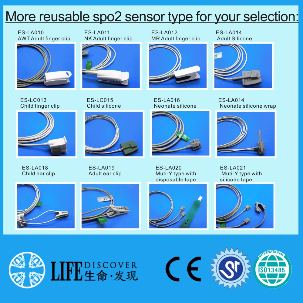 Long cable adult soft silicone spo2 sensor for NIHON KOHDEN patient monitor
