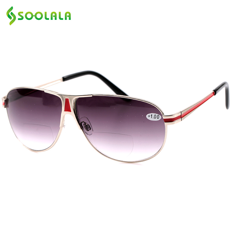 SOOLALA Bifocal Sunglasses Reading Glasses Presbyopic Frame Dual Degree Multifocal Sunglasses Magnifier +1.0 To 3.5