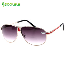 SOOLALA Double Degree Sunglasses Fashion Reading Glasses Presbyopic Frame 100-350 Dual Degree Sunglasses +1 +1.5 +2 +2.5 +3 +3.5