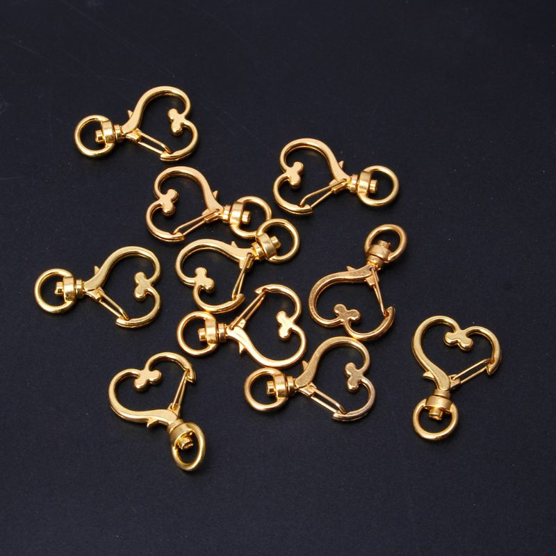 10Pcs Metal Swivel Lobster Clasp Snap Hook Heart Shape Keychain Jewelry Findings
