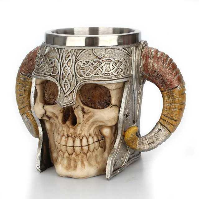 Viking Ram Horned Pit Lord Warrior Stainless Steel Skull Mug Beer Goat Horn Resin Tankard Coffee Mugs Halloween Bar Gift Tea Cup 2