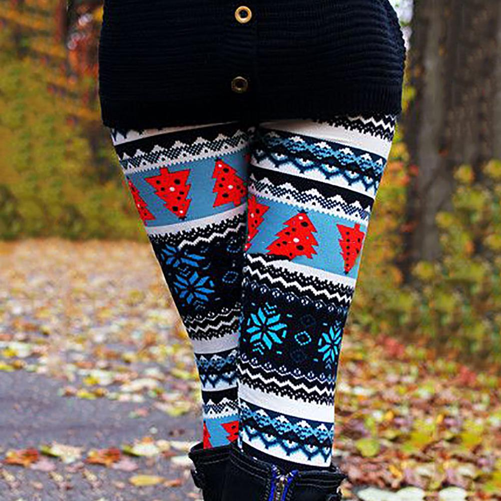 Christmas Tree Snowflake Leggings Women's Skinny Pants Ankle Length Trousers fashion