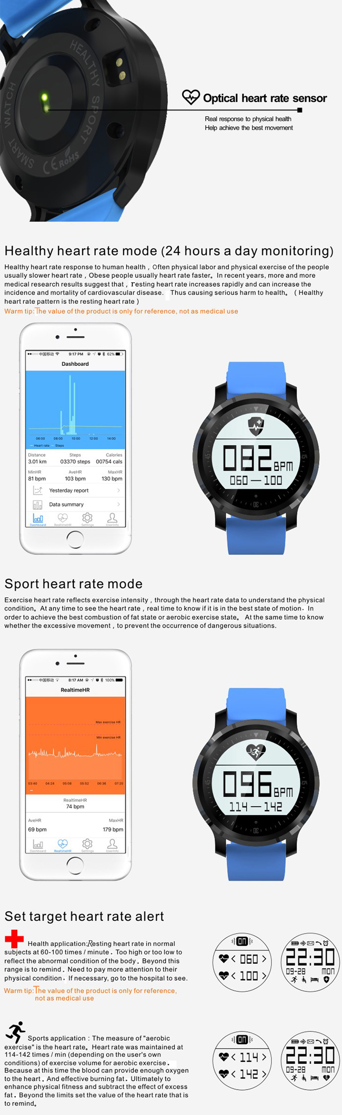 F68 Bluetooth 4.0 Sport Smart Watch Heart Rate Track Wristwatch 1.5 Inch Touch Screen Waterproof IP67 Watch For IOS Android (5)