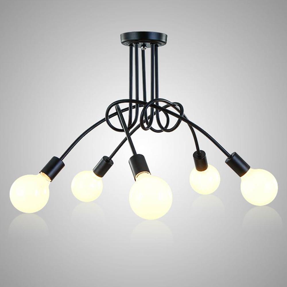 все цены на 3/5 Heads Black Lustre Led Ceiling Lights for Home Lighting Living Room Lamparas De Techo Luminaria E27 Ceiling Lamps Fixtures онлайн