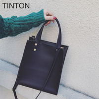2018 TINTON New Fashion Korean Version Ladies Handbag Solid Color Simple Shoulder Bag Ms PU Temperament