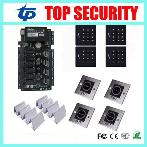 ZK C3-400 4 doors access control system access control panel with 4pcs KR102E RFID card reader, 4pcs infrared exit button
