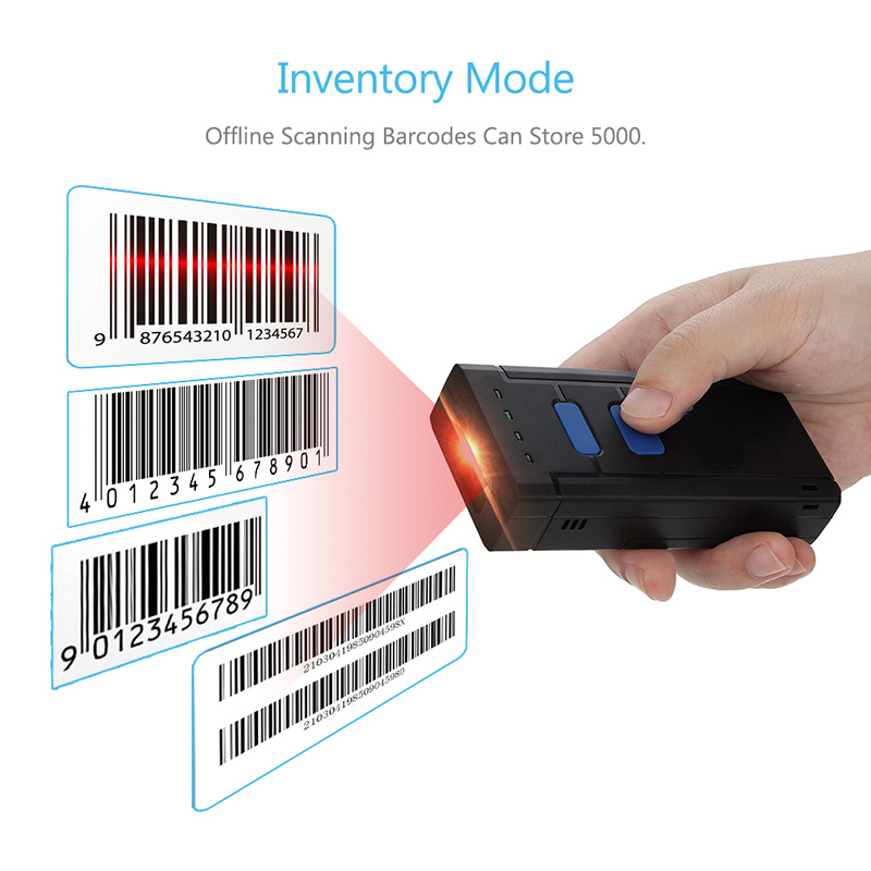 Portable 4.0 Wireless Bluetooth Barcode Scanner CCD Bar Code Reader 630nm Mini Handhled Scanner for IOS Android Tablets Windows