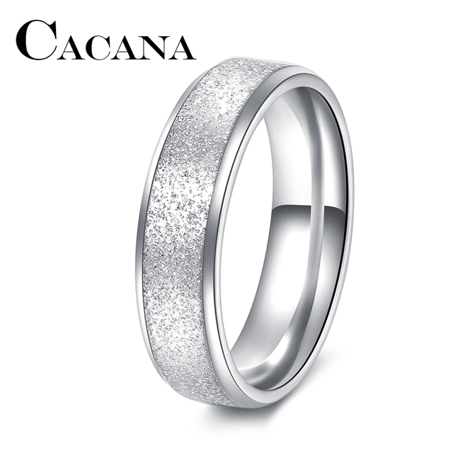 CACANA Titanium Fashion Simple Ring Female Fashion Stainless Steel Ring Colour S