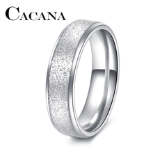 CACANA moda prosty pierścień żeński moda pierścień ze stali nierdzewnej kolor peeling pierścienie 316L ze stali nierdzewnej pierścienie ze stali nierdzewnej dla kobiet tanie tanio Unisex Metal Strona Brak TRENDY Wszystko kompatybilny Zespoły weselne Okrągły R253-R255 Pierścionki Will Not Fade