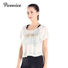Picemice Newest Women See Through Yoga Shirts Sports Running T-shirt Loose Blouse Crop Tops Breathable Girls Fitness Tops butterfly sleeve button through crop blouse