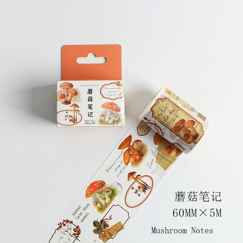 60mm Vintage Fairy Tale Mushroom Notes Retro Fungi Letter Old Plant Decoration Washi Tape DIY Planner Scrapbooking Masking Tape