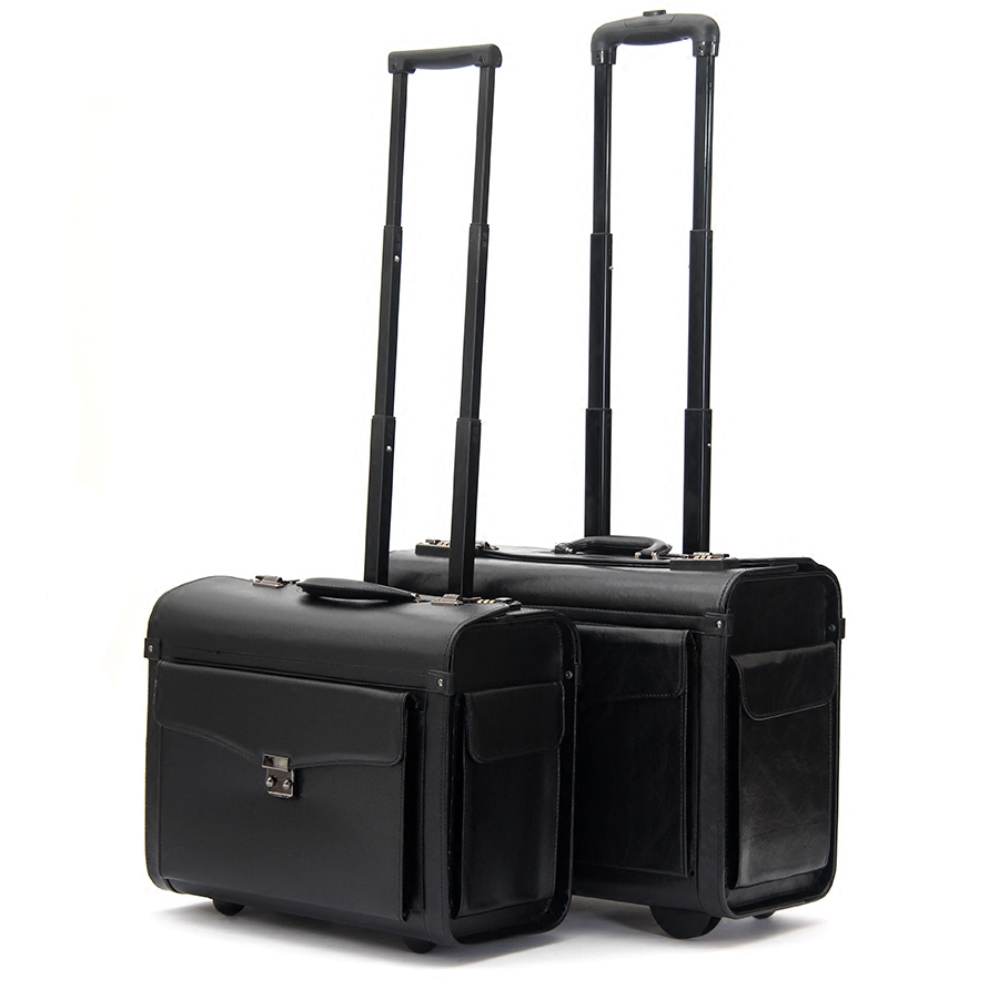Pilot trolley luggage commercial 19inches suitcase luggage wheel travel luggage,airplain boarding luggage bag on fixed wheels
