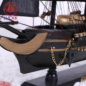 Image 4 - LUCKK 50CM Wooden Black Pearl Pirate Sailing Boat Model Home Interior Desk Decoration Wood Crafts Caribbean Marine Ship Figurine