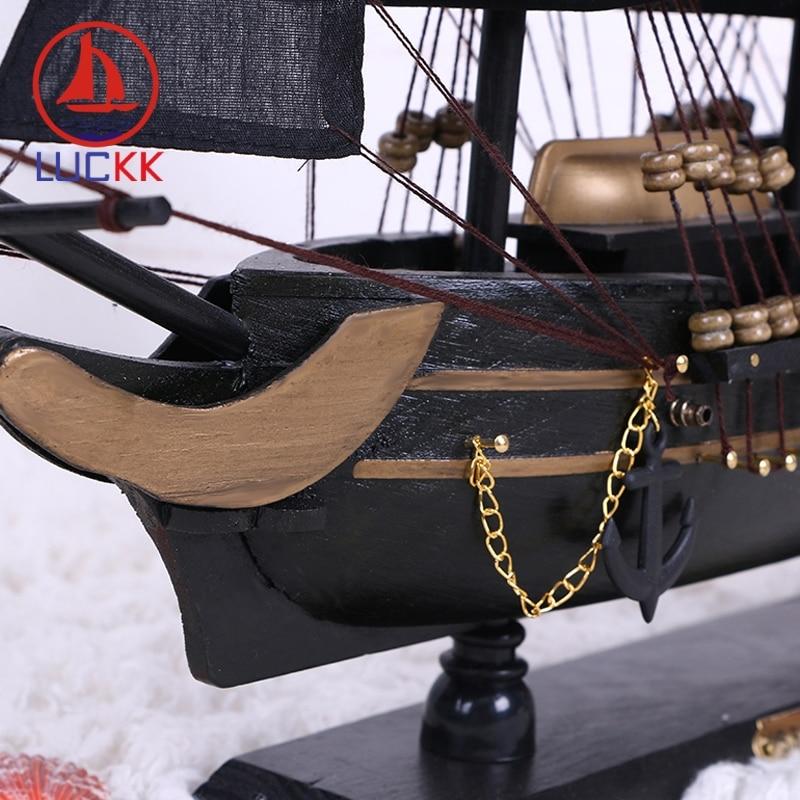 Image 4 - LUCKK DIY 50 см черная Пиратская деревянная парусная лодка модель корабля домашние поделки для декорирования интерьера море стиль игрушки парусная модель классика-in Статуэтки и миниатюры from Дом и животные