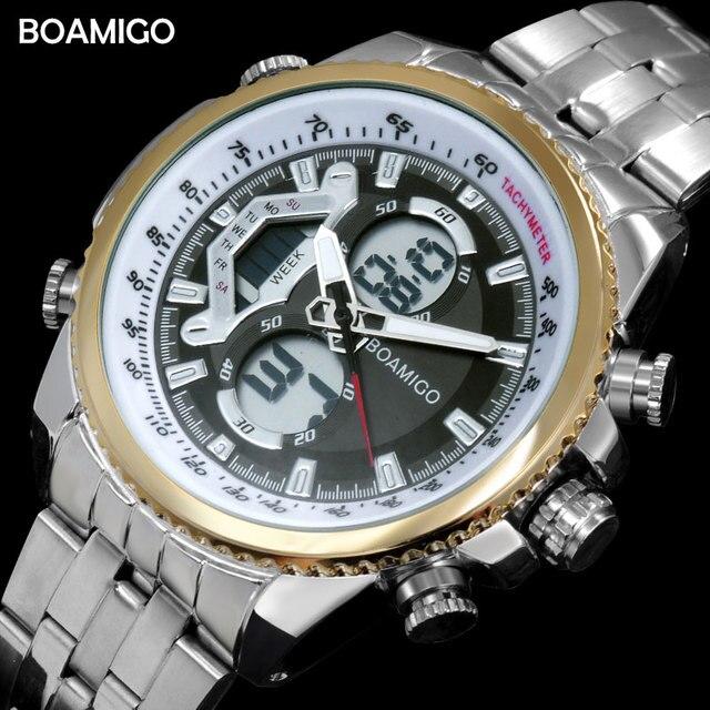 Homens dual display relógios relógios esportivos de luxo relógio cronógrafo digital BOAMIGO à prova d' água quartz presente relógio de pulso reloj hombre