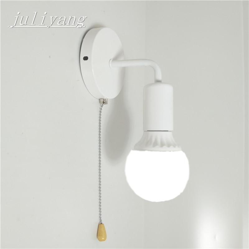 Juliyang einfache wand licht mit pull schalter weiß schwarz silber fix birne bett wohnzimmer wand lampe 110 v 220 v