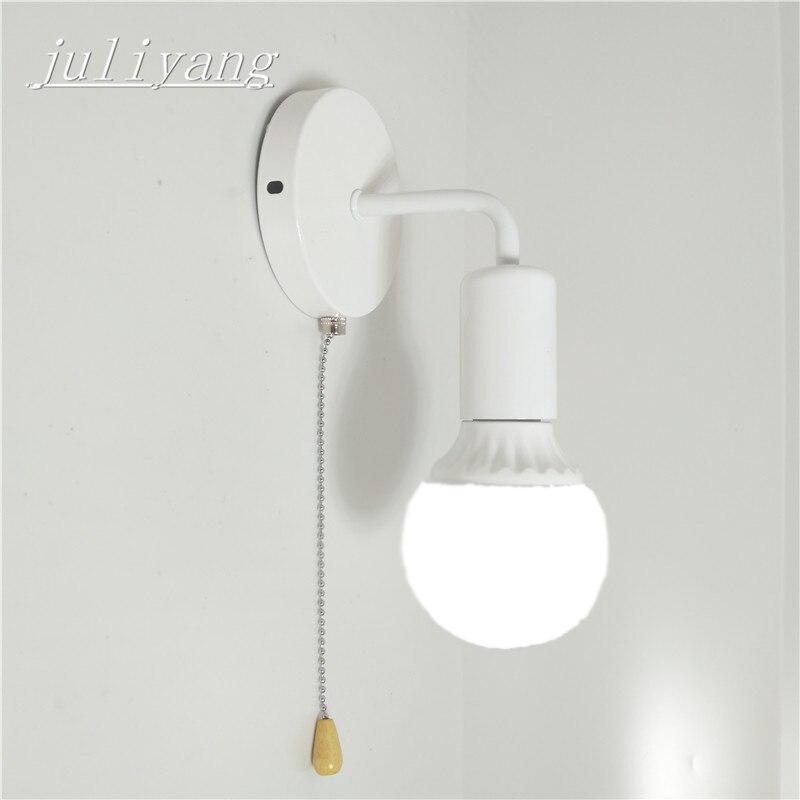 Juliyang simple pared con interruptor blanco negro plata fijar bulb dormitorio salón lámpara de pared 110 V 220 V