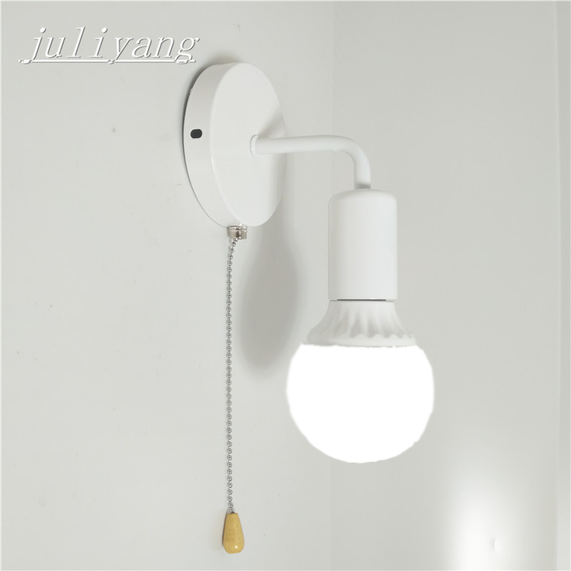juliyang simple wall light with pull switch white black silver fix bulb bed room living room wall lamp 110v 220v