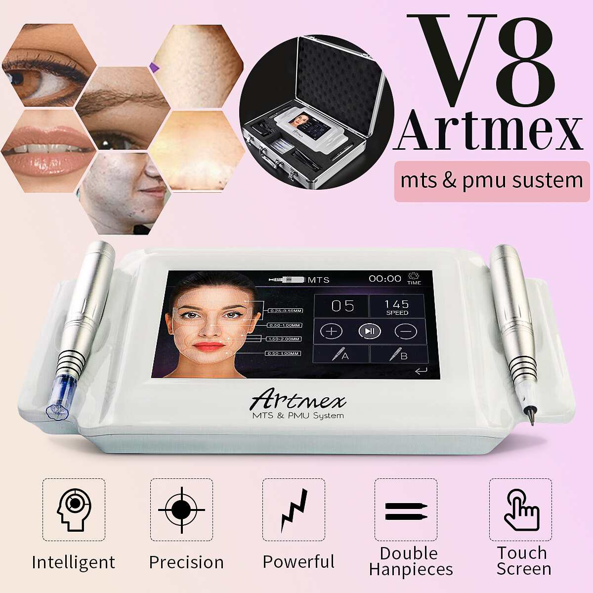 100-240V AC Artmex V8 Permanent Makeup Tattoo Machine Digital Electric Eye Brow Lip Rotary Pen MTS PMU System Makeup Machine