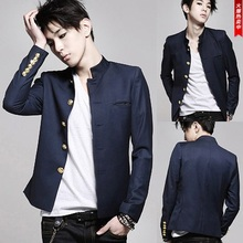 FreeShipping New fashion colleges university Japanese school uniform male men's slim blazer chinese tunic suit jacket top Korean