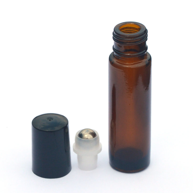 3pcs 10ml Amber Roll On Glass Bottle Empty Fragrance Perfume Essential Oil Bottle 10 ML Roll-On Black Plastic Cap Bottle
