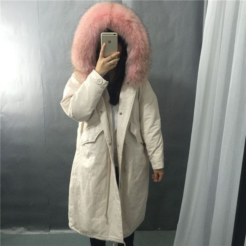 2018 Women Winter Jacket 90% White Duck   Down     Coat   Parka Real Fur Collar Thicken Hooded   Down   Jacket Female Loose Long Overcoat