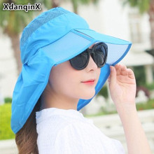 XdanqinX Foldable Ultra-thin Beach Hat Summer Wide Sun Visor Personality Womens Hats Anti-UV Breathable Caps For Women